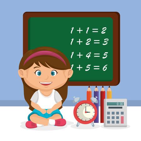 little schoolgirl with chalkboard vector illustration design Standard-Bild - 109952413