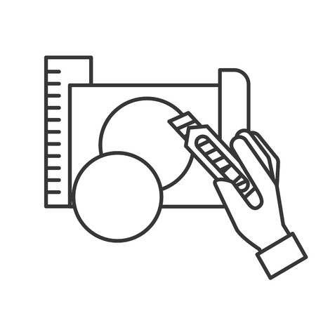 hand holding cutter making circle with paper vector illustration thin line Illustration