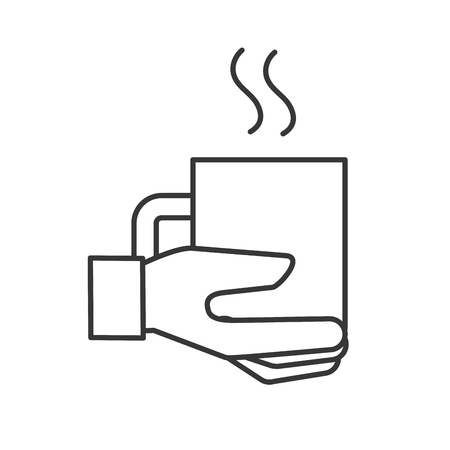 hand holding coffee cup hot beverage vector illustration thin line Illustration