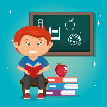 little schoolboy with chalkboard vector illustration design Ilustração