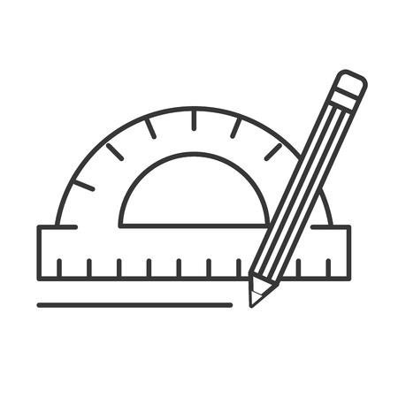 protractor pencil graphic design tools vector illustration thin line Illustration
