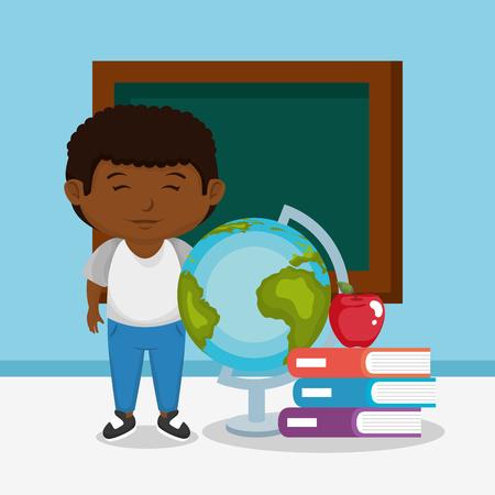 little afro schoolboy with chalkboard vector illustration design Ilustración de vector