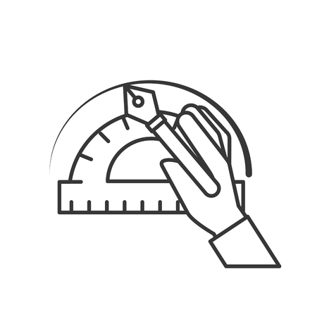 hand with fountain pen protractor graphic design vector illustration thin line Illustration