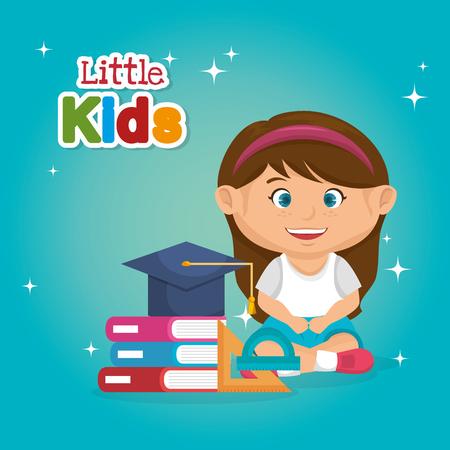 little schoolgirl with education supplies vector illustration design Stock fotó - 108339090