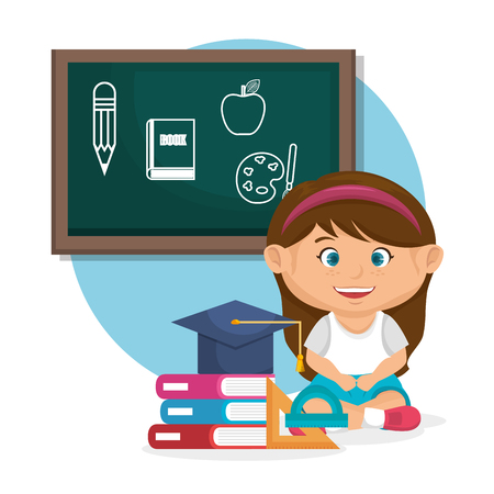 little schoolgirl with chalkboard vector illustration design