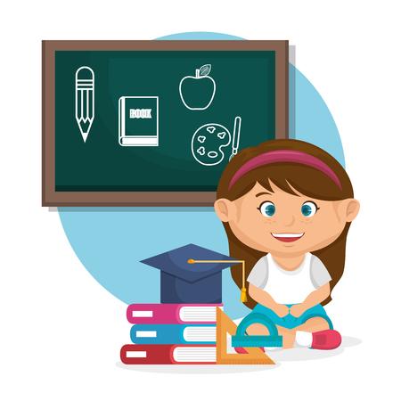 Petite écolière avec conception d'illustration vectorielle tableau Vecteurs
