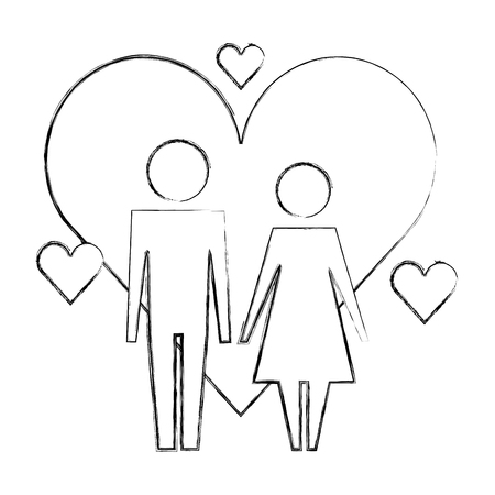 pictogram love couple characters hearts vector illustration hand drawing