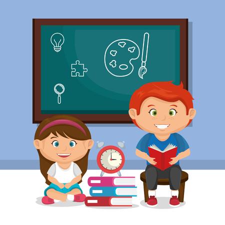 Los niños pequeños de la escuela pareja con diseño de ilustraciones vectoriales de pizarra Ilustración de vector