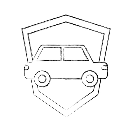 transport car vehicle shield protection insurance symbol vector illustration hand drawing Illustration