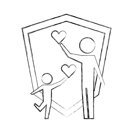 parent father and son holding hearts shield protection vector illustration hand drawing Stock Illustratie