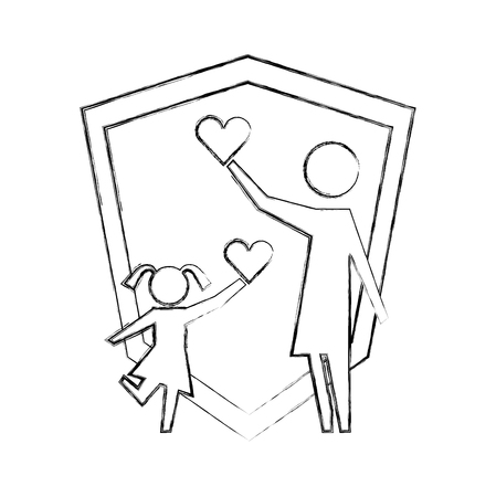 parent mom and daugther with hearts shield protection vector illustration hand drawing