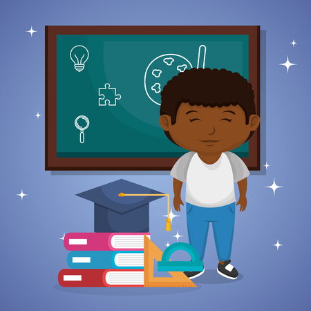 little afro schoolboy with chalkboard vector illustration design