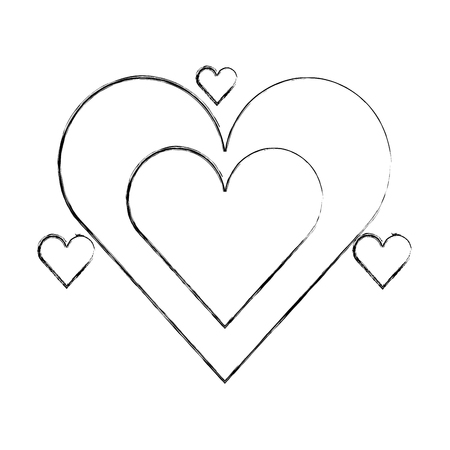 romantic love hearts passion affection vector illustration hand drawing