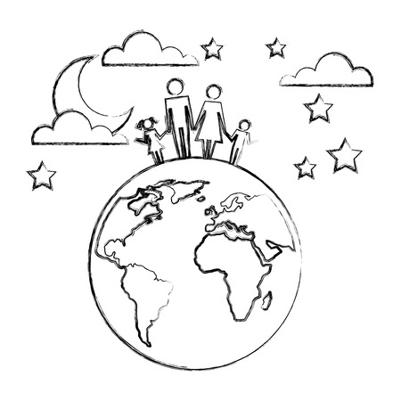 family parents and kids on world sky night vector illustration hand drawing