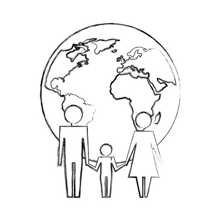 family unity holding hands world planet vector illustration hand drawing