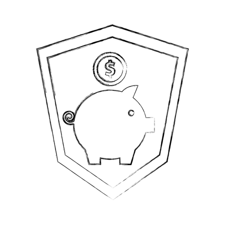 shield protection piggy bank coins currency money vector illustration hand drawing
