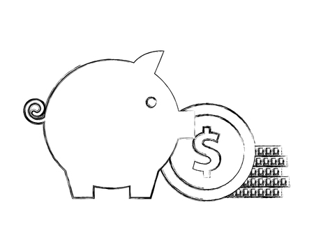 piggy bank stack coins money invest vector illustration hand drawing Иллюстрация