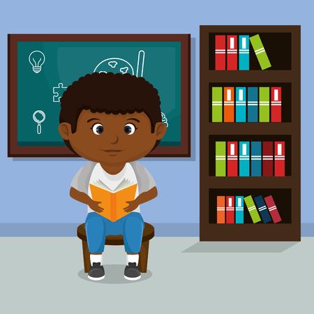 little afro schoolboy with chalkboard vector illustration design