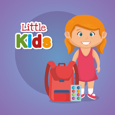 little schoolgirl with education supplies vector illustration design Illustration