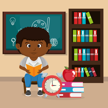 little afro schoolboy with chalkboard vector illustration design Stock fotó - 108338961