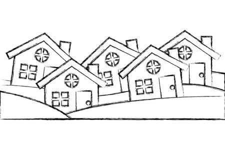 Satz von Wohnhäusern außerhalb der vorstädtischen Vektorillustration Handzeichnung