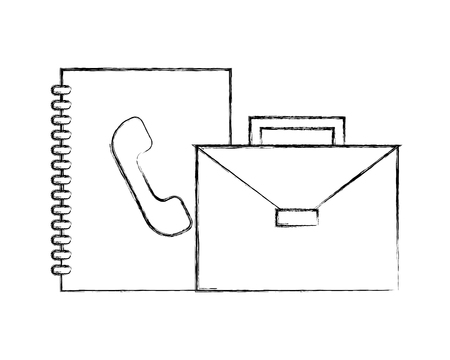 business briefcase address book office vector illustration hand drawing