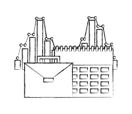 business briefcase office calendar plan statistics chart vector illustration hand drawing