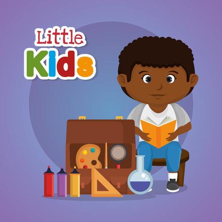 little afro schoolboy with education supplies vector illustration design Illustration