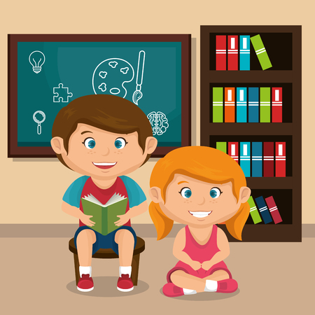 little school kids couple with chalkboard vector illustration design Stock Vector - 109952494