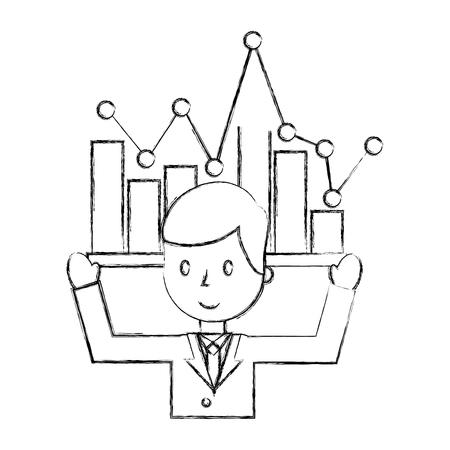 businessman portrait business statistics chart report vector illustration hand drawing