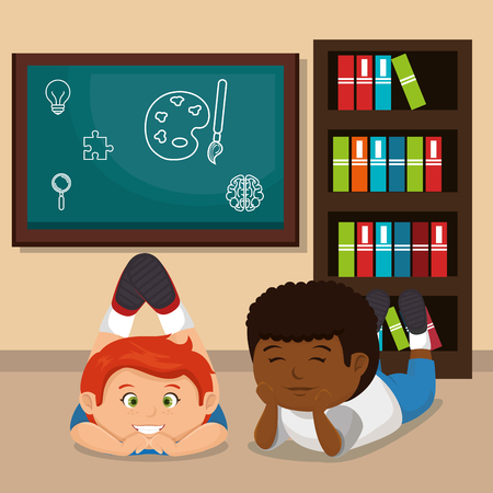 little school boys with education supplies vector illustration design