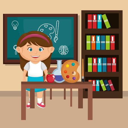 little schoolgirl in the classroom vector illustration design Illustration
