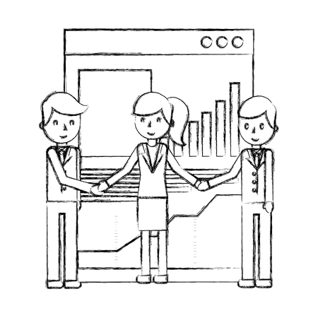 businesspeople team office business report diagram vector illustration hand drawing