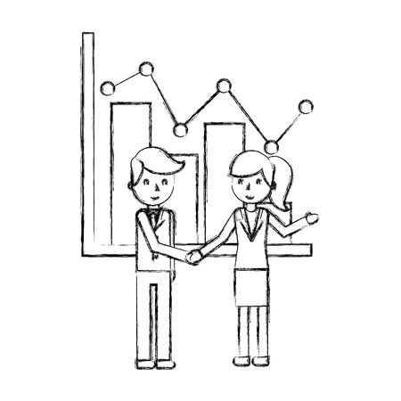 Diagramme de statistiques homme d'affaires et femme d'affaires rapport illustration vectorielle dessin à la main Vecteurs