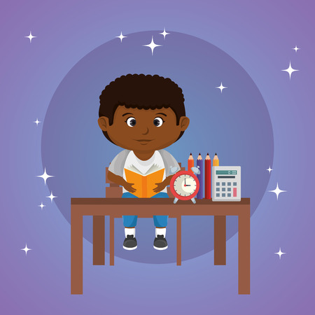 petit écolier afro dans la conception d'illustration vectorielle en classe