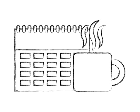 business calendar planning hot coffee cup vector illustration hand drawing