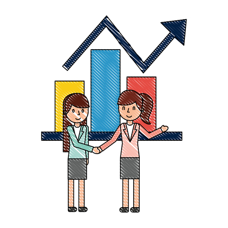 businesswomen statistic report business chart vector illustration