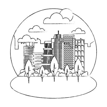 landscape city buildings park trees sunny day vector illustration hand drawing