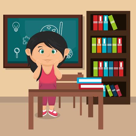 little schoolgirl in the classroom vector illustration design Stock fotó - 109952513