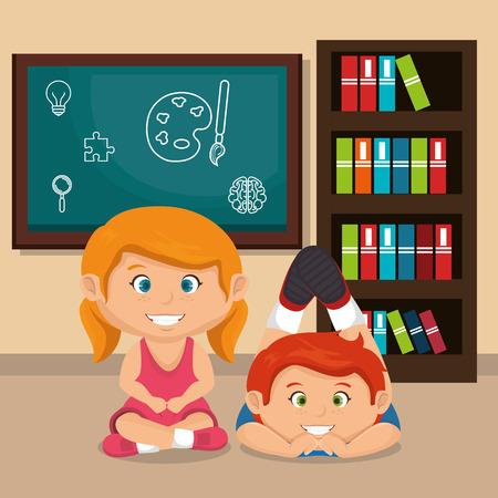 little school kids couple with chalkboard vector illustration design