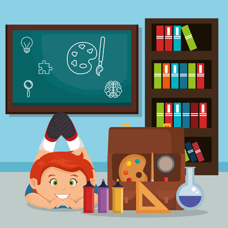 little schoolboy with education supplies vector illustration design