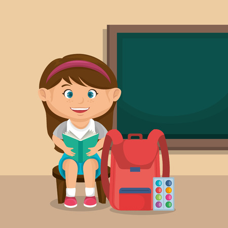 little schoolgirl with chalkboard vector illustration design Stock fotó - 109952524