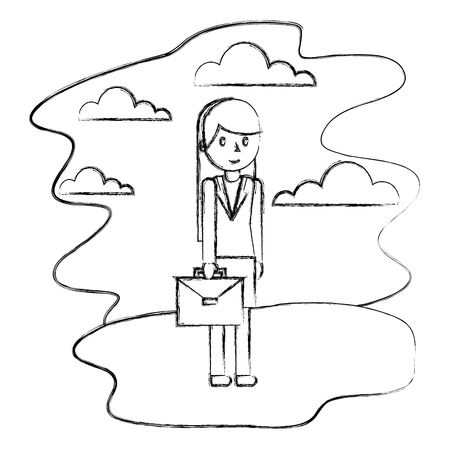 businesswoman with briefcase in the nature landscape vector illustration hand drawing