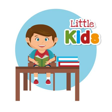 little schoolboy in the classroom vector illustration design