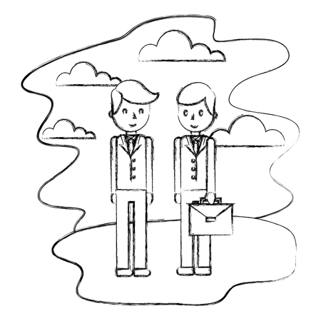 businessmen with briefcase standing in the landscape vector illustration hand drawing Illustration