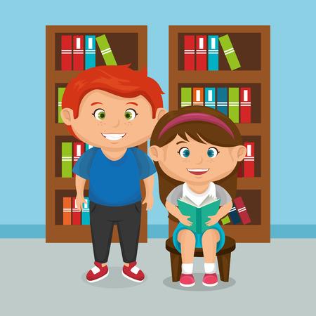 Diseño de ilustración de vector de pareja de niños de escuela pequeña