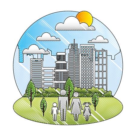 family parents and kids in the park city vector illustration Ilustração