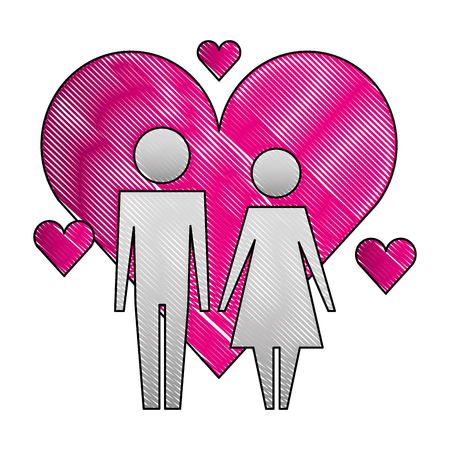 pictogram love couple characters hearts vector illustration