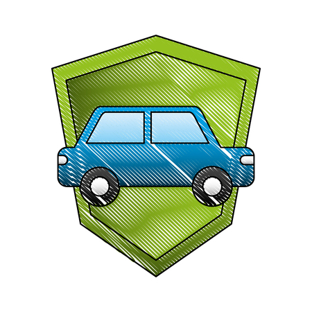 transport car vehicle shield protection insurance symbol vector illustration