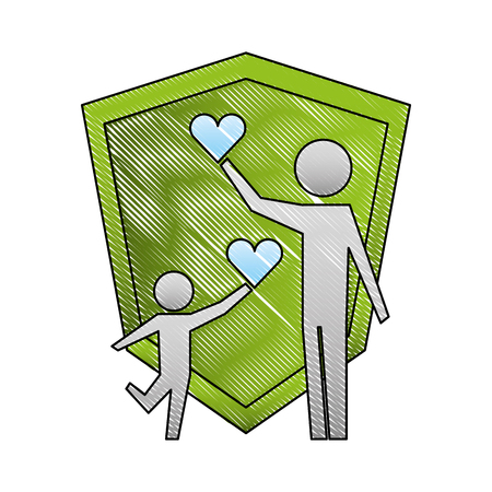 parent father and son holding hearts shield protection vector illustration